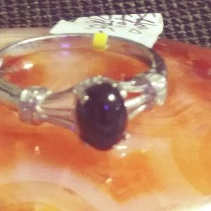 NWT-INDIAN BLACK STAR/ZIRCON STERLING RING.9